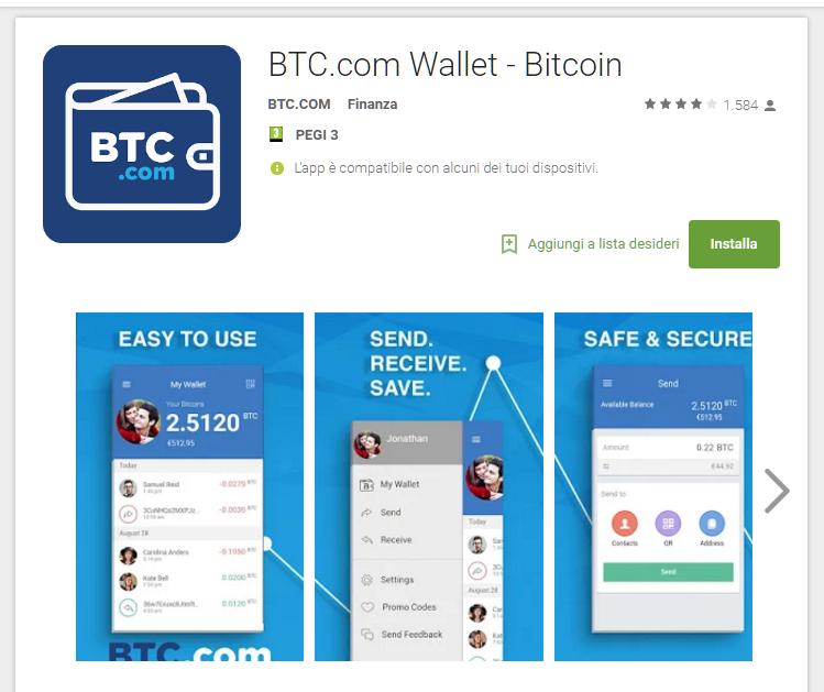 BTC.com app per inviare Bitcoin